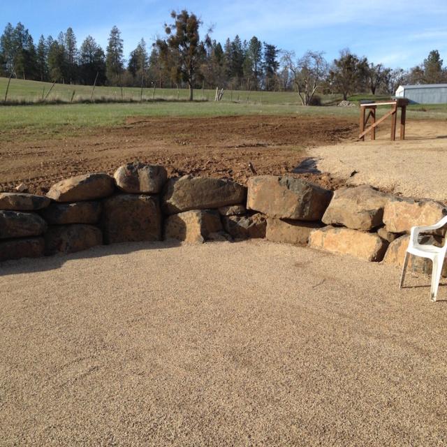 Boulder walls and landscape prep for large garden – Jacksonville
