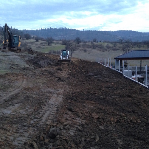 Large concrete wall backfill / curtain drain – East Medford